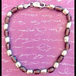 Vintage Purple .925 Sterling Silver Bracelet Italy